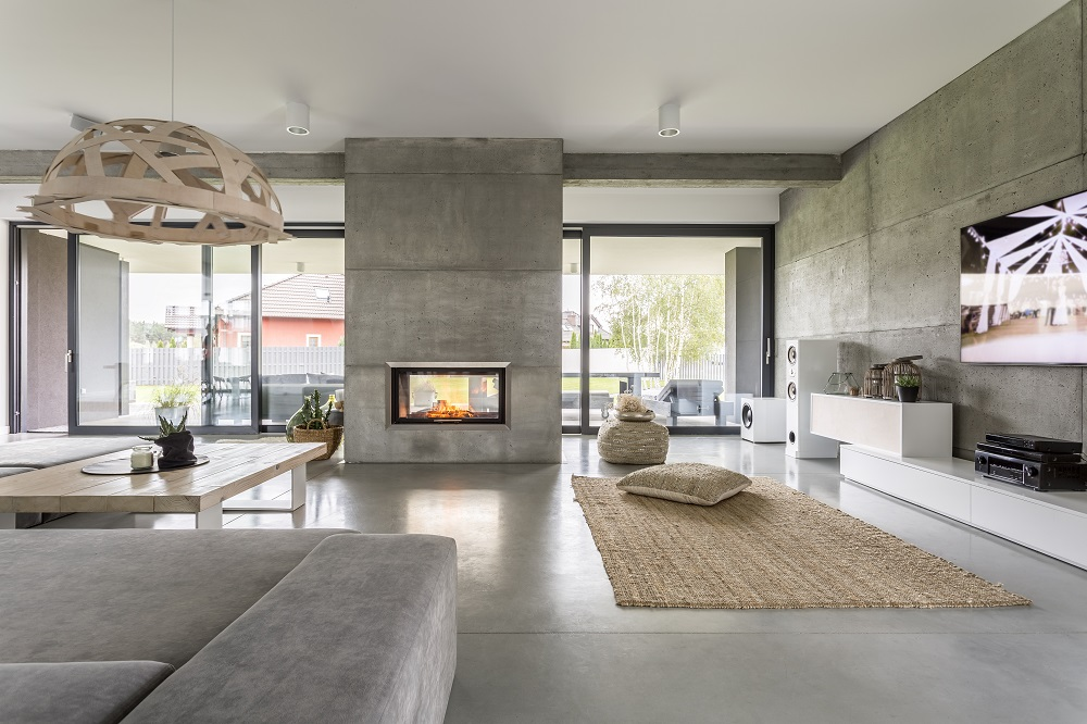 A newly transformed lounge room of Spacious Villa With Cement Wall